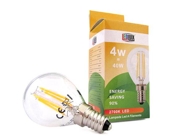 Lampada Filo Led Con Filamento E14 G45 4W=40W 360 Gradi Bianco Caldo 2700K Bulbo Globo Piccolo Sfera SKU-43001 - PZ
