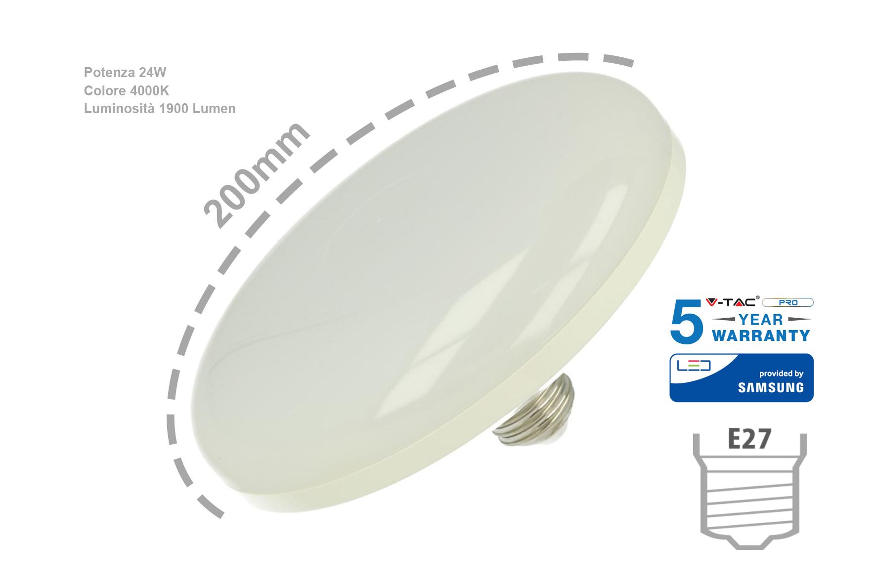 Lampada Led E27 UFO F200 24W 220V Bianco Neutro Samsung Garanzia 5 Anni Per Sostituzione Neon Circolina SKU-217 - PZ
