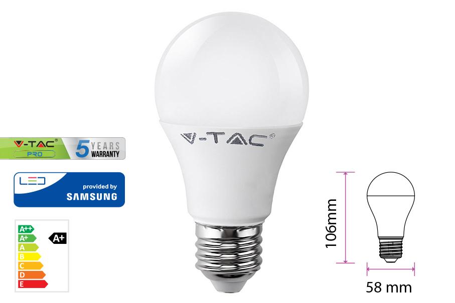 Lampada Led E27 A58 9W=60W Bianco Freddo Bulbo Sfera Chip Samsung Garanzia 5 Anni SKU-230 - PZ