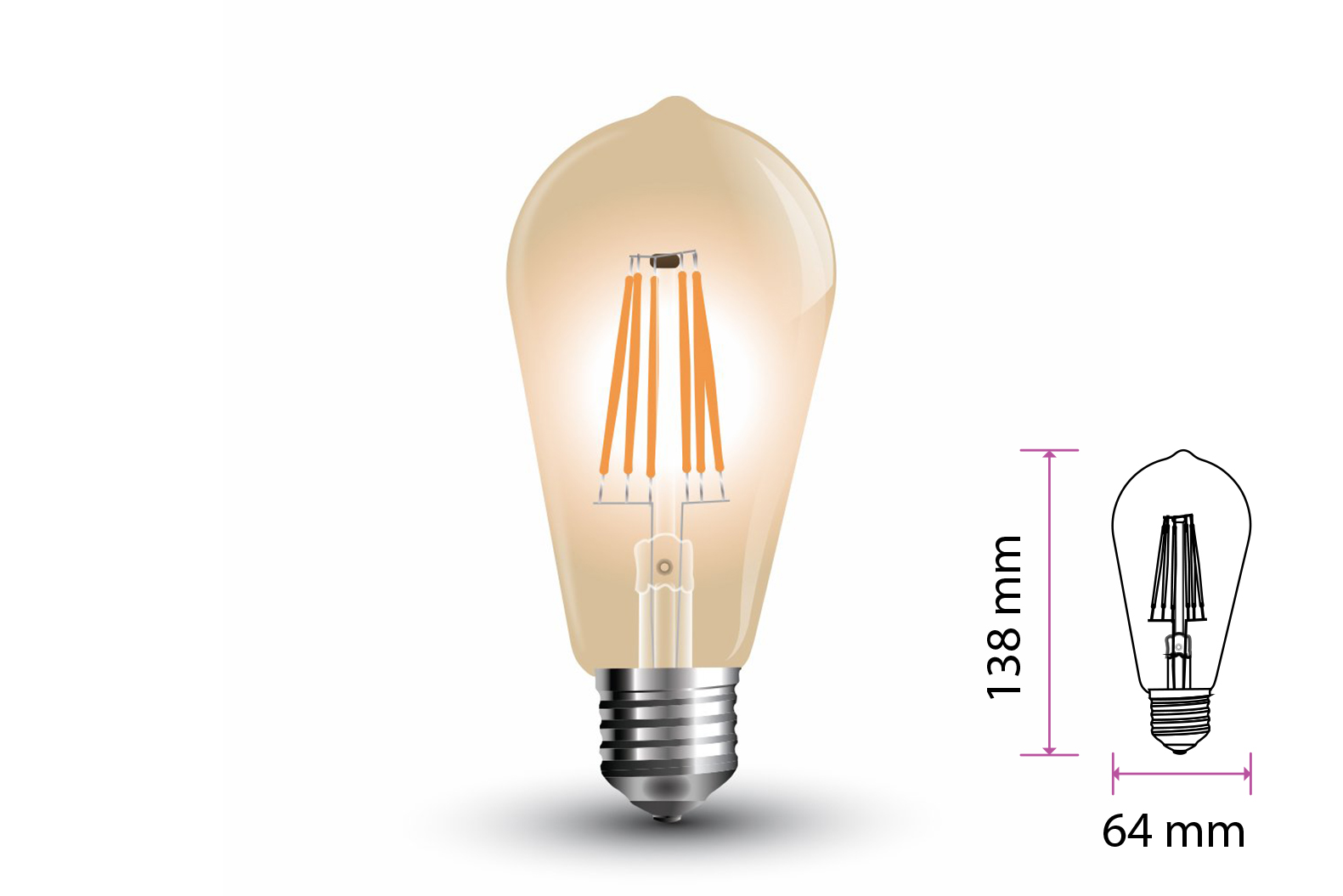 Lampada Filo Led a Filamento E27 ST64 6W Bianco Caldo 2200K Cover Amber Vintage SKU-4362 - PZ