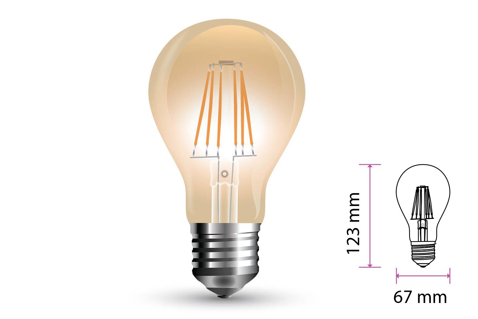 Lampada Filo Led a Filamento E27 10W A67 Bianco Caldo 2200K Cover Amber SKU-7157 - PZ