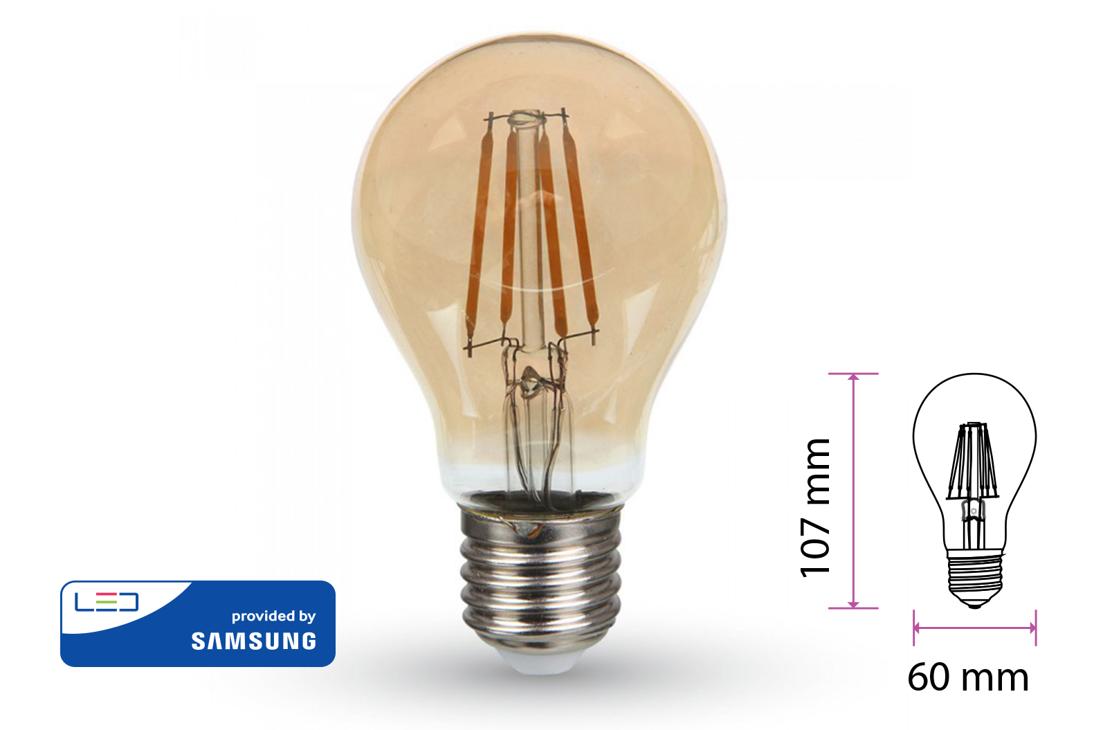 Lampada Filo Led a Filamento E27 4W A60 Bianco Caldo 2200K Cover Amber Led Samsung Garanzia 5 Anni SKU-282 - PZ