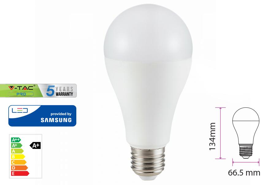 Lampada Led E27 A65 15W Bianco Caldo Bulbo Sfera Chip Samsung Garanzia 5 Anni SKU-159 - PZ