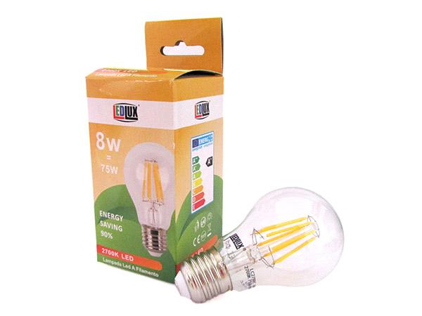 Lampada Filo Led Con Filamento E27 A60 8W 360 Gradi Bianco Caldo 2700K Bulbo Sfera Palla Goccia Come Lampade Tradizionali SKU-4407 - PZ