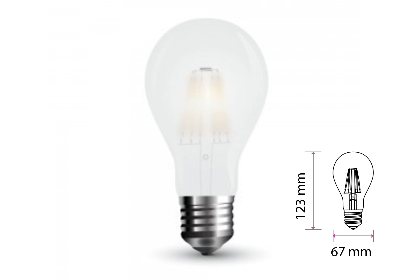 Lampada Filo Led a Filamento E27 9W Bianco Freddo 6400K 1100 LM A++ A67 Vetro Satinato 300 Gradi SKU-7186 - PZ