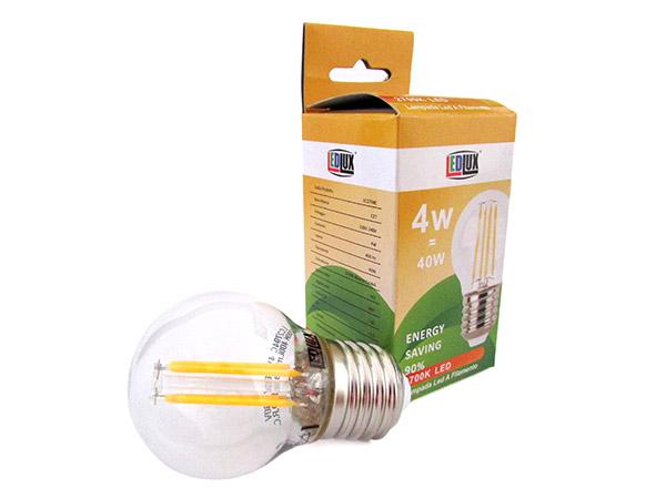 Stock 4 Lampade Filo Led a Filamento Zaffiro Sintetico E27 G45 4W 360 Gradi Bianco Caldo 2700K Bulbo Piccolo Sfera - Stock
