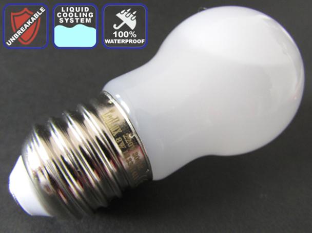 Lampada Led Sfera E27 8W=85W Antiurto Raffreddamento A Liquido Bianco Caldo 3000K Impermeabile - PZ