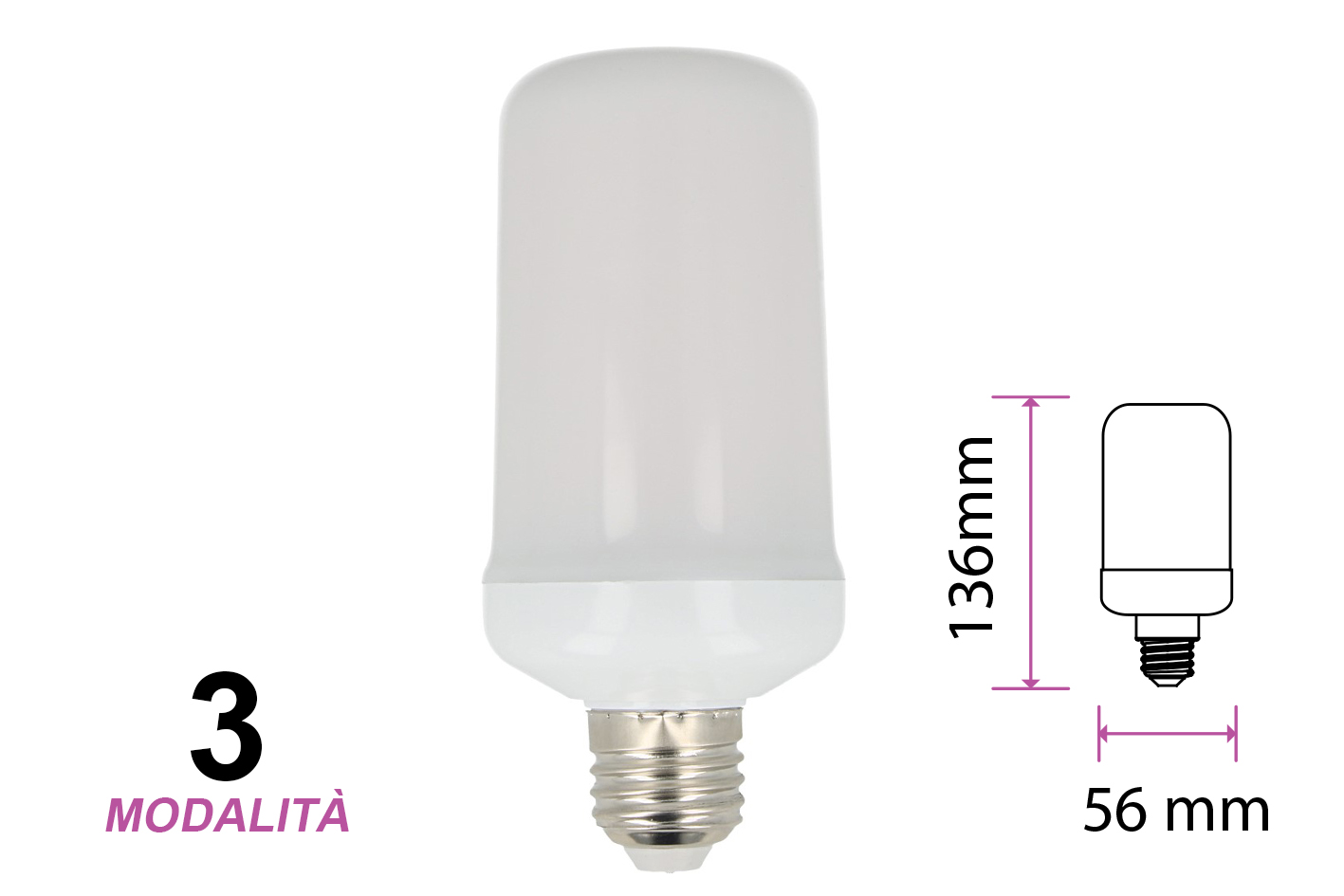 Lampada Led E27 Effetto Fiamma Finta Fuoco Tremolante Decorativa Vintage 3 Mode 6W 1700K Luce Fissa Breathing Light - PZ