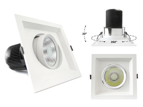 Faro Led Da Incasso COB 30W 220V Bianco Caldo Quadrato Orientabile Con Riflettore - PZ