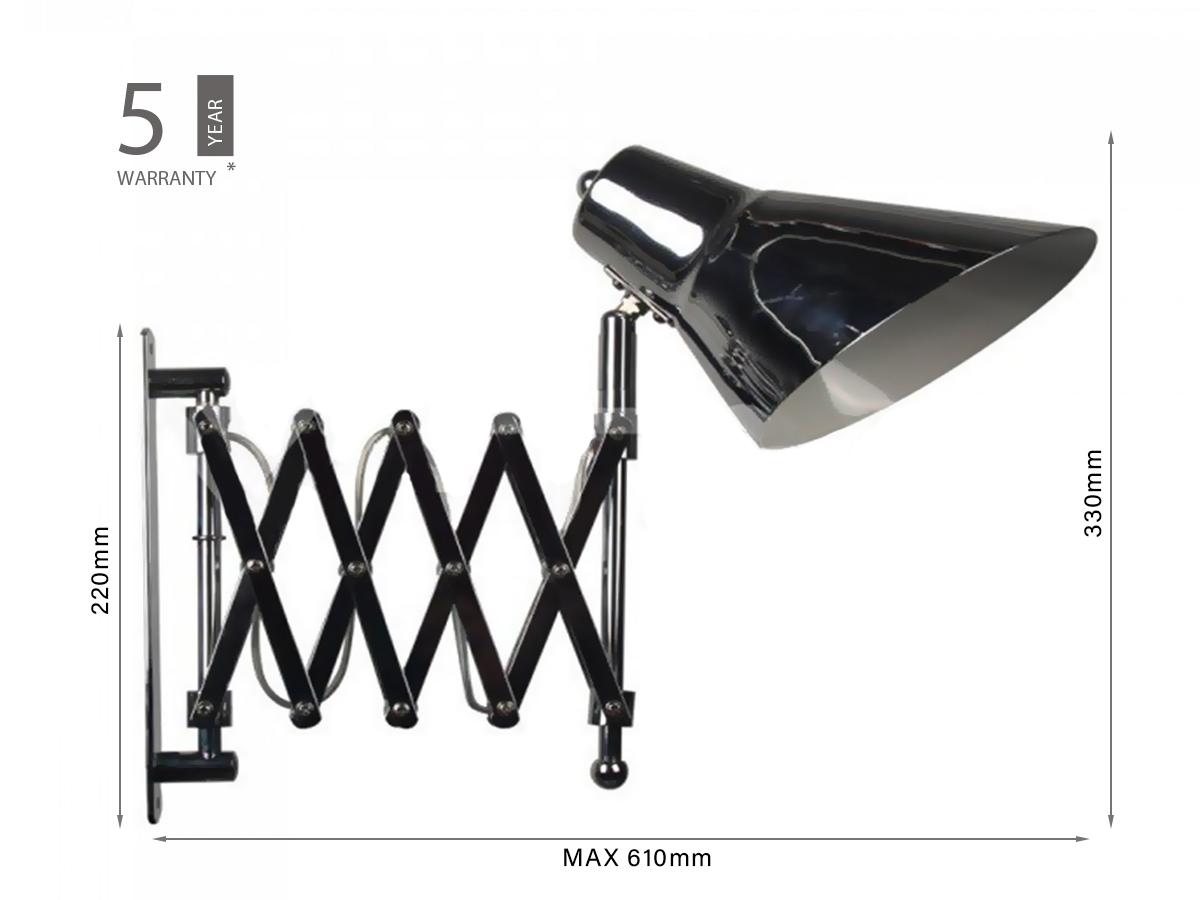 Lampade Da Parete Con Braccio applique lampada da parete fisarmonica con braccio regolabile colore  acciaio crome attacco e27 sku-40431
