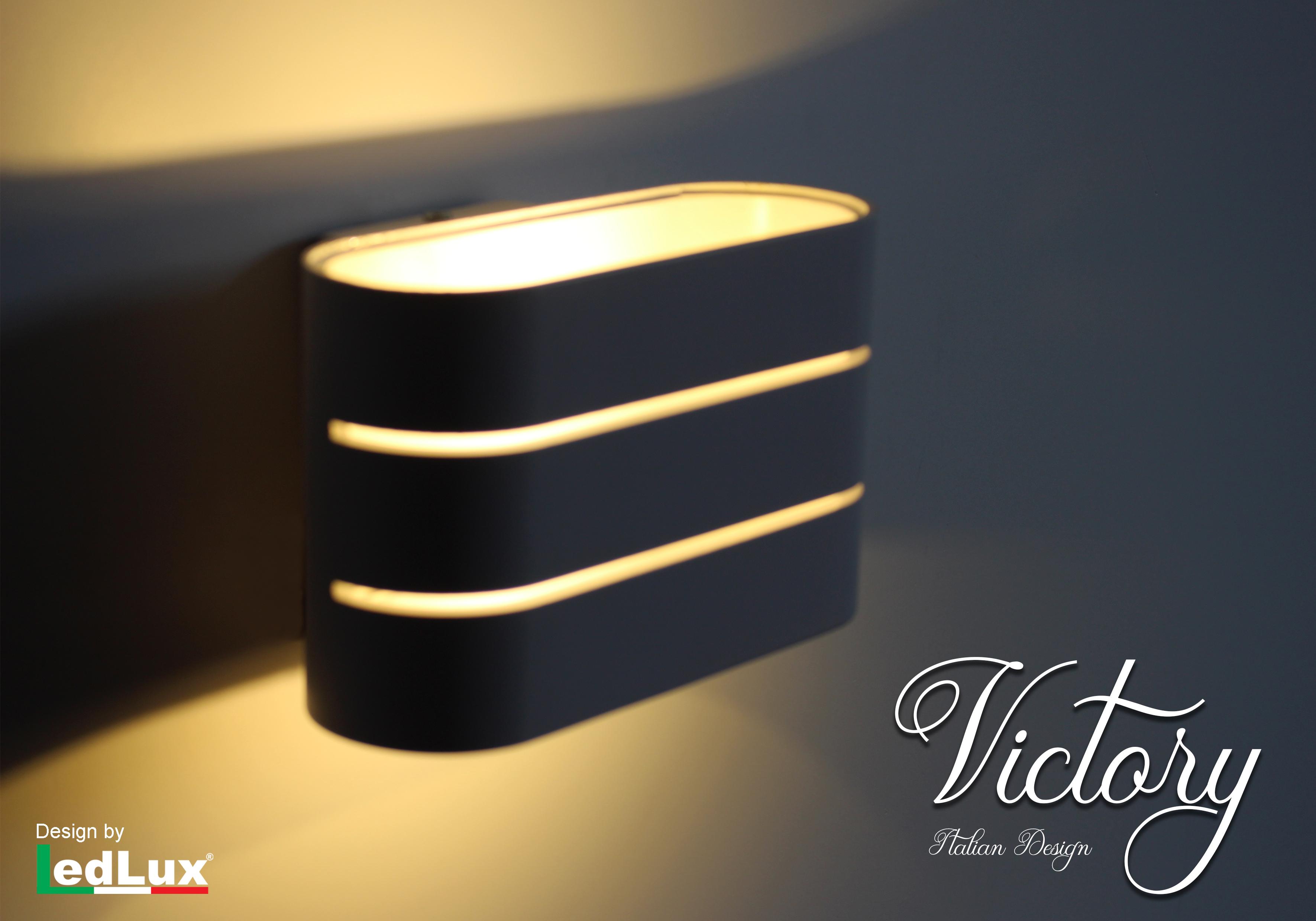 Applique Led Da Parete Modello Victory Italian Design Moderna 6W Bianco Caldo - PZ
