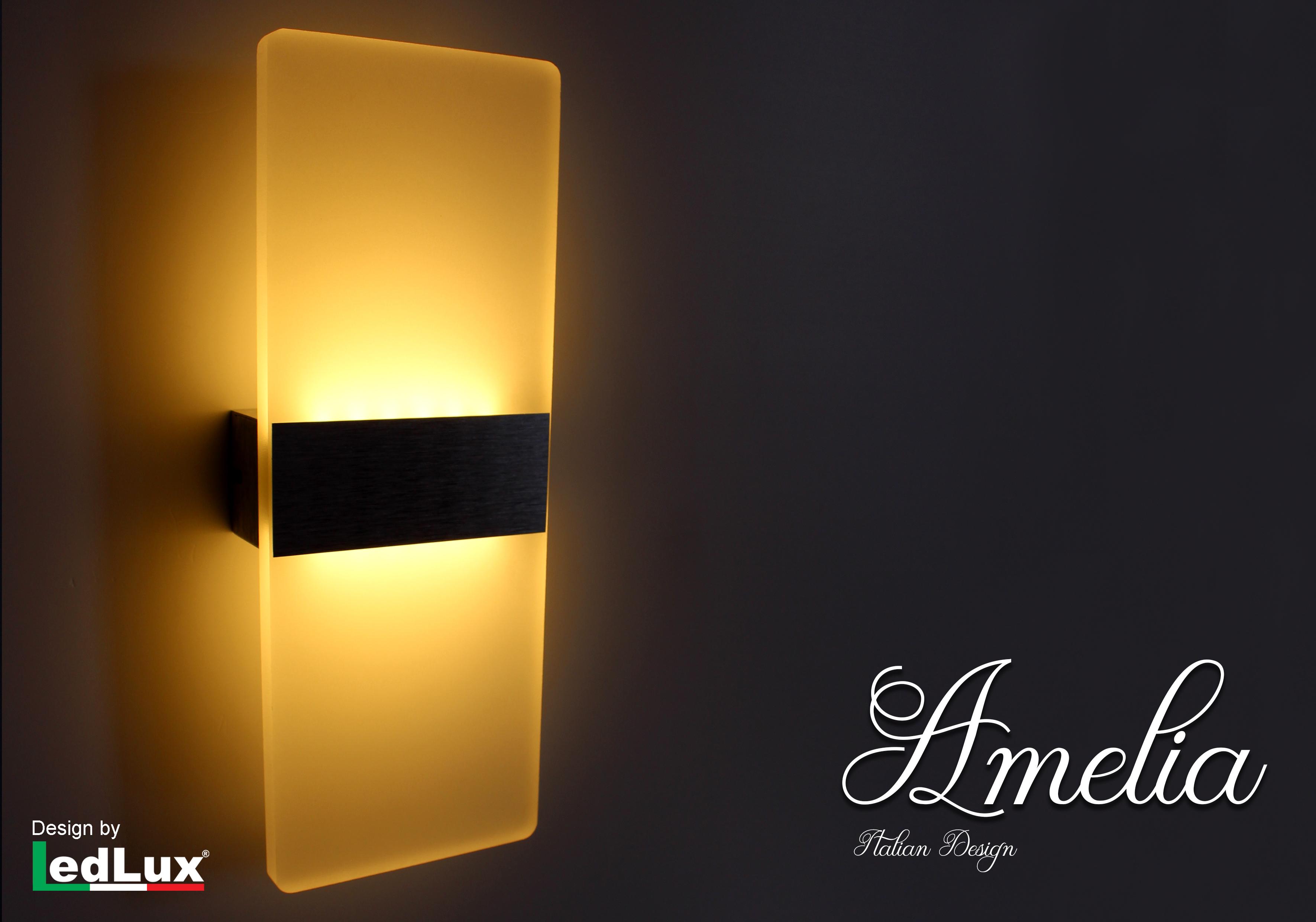 Ledlux applique led da parete modello amelia italian design