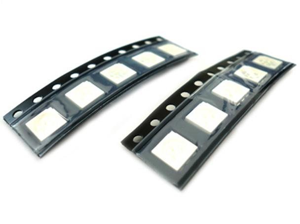 10 PZ Led SMD 5050 PLCC-6 Blu Blue 3V 0,2W 3 Chips