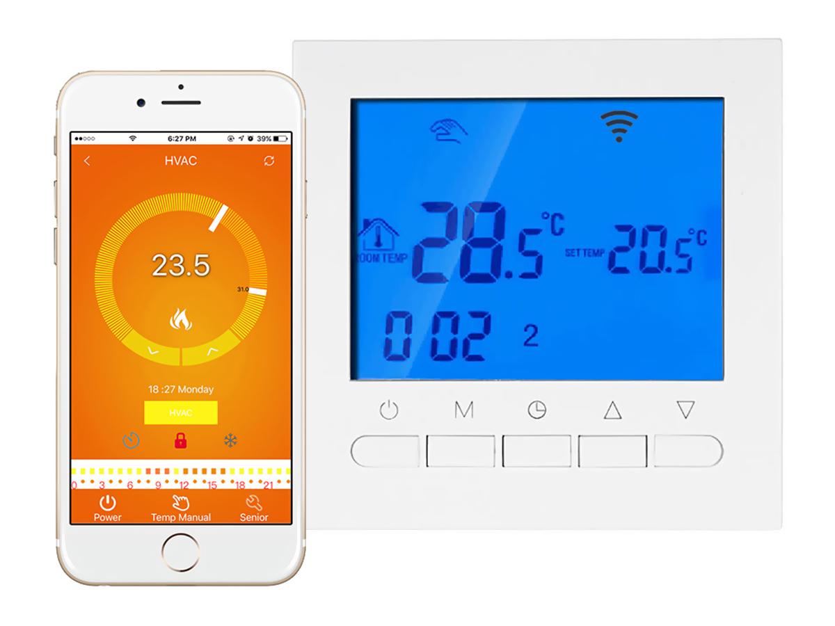 Termostato Digitale Per Riscaldamento Elettrico Stufa Calorifero WiFi Compatibile Con Amazon Alexa Echo e Google Home 16A 220V - PZ