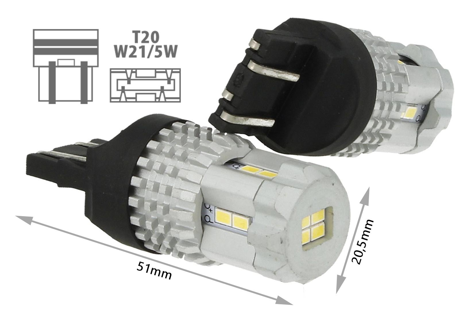 Lampadina Luci Diurne Fiat 500 : Lampada led t20 7443 w21 5w 12 smd 3020 bianco super luminoso luci