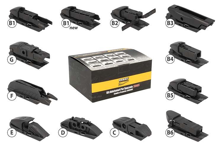 Kit 12 Attacchi Connettori Adattatori Raccordi Per Spazzole Tergicristallo CARALL S985 Flat e T191 Ibrida Flat e T191 Ibrida - KIT