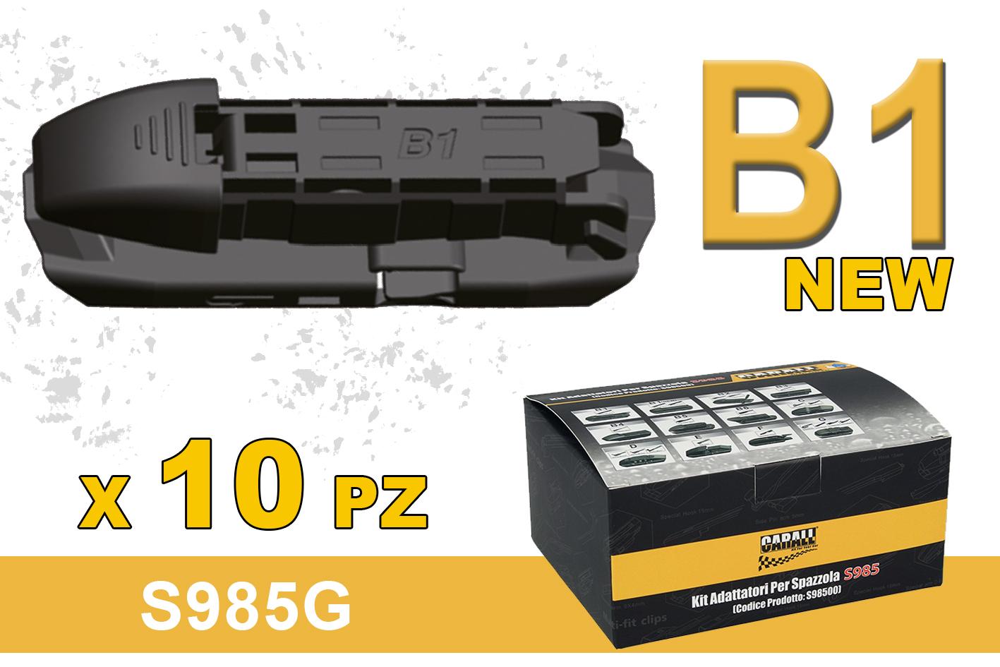 Kit 10 Attacchi B1 New Per Spazzole Tergicristallo Carall S985 Flat e T191 Ibrida - KIT