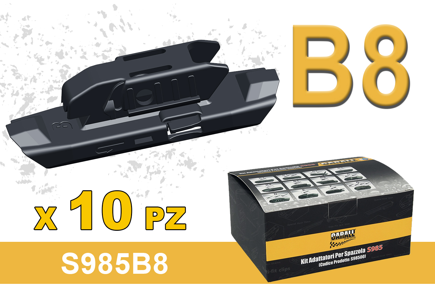 Kit 10 Attacchi B8 Per Spazzole Tergicristallo Carall S985 Flat e T191 Ibrida Dacia Dokker Lodgy Duster - KIT