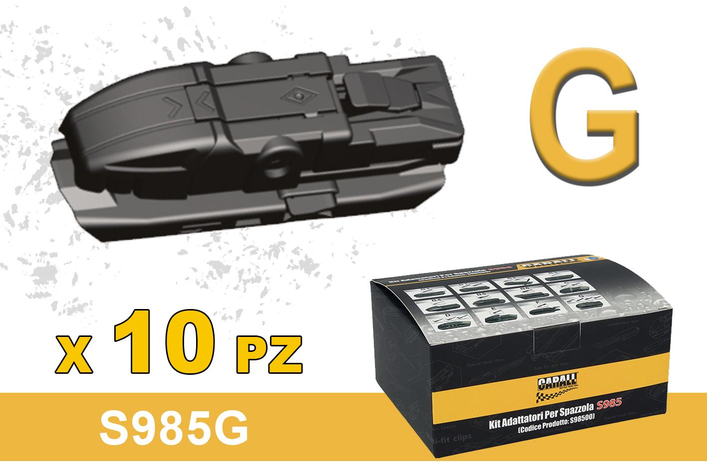 Kit 10 Attacchi G Per Spazzole Tergicristallo Carall S985 Flat e T191 Ibrida - KIT