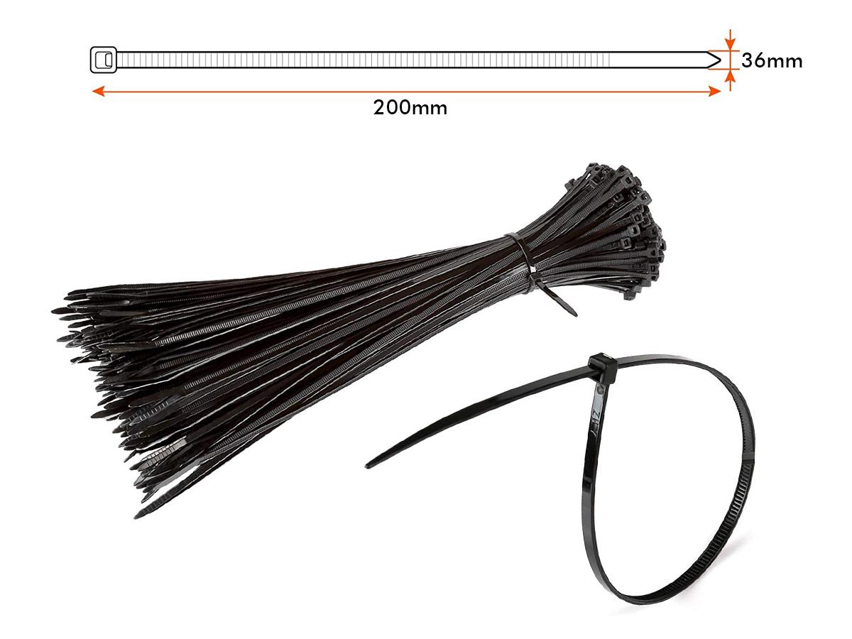 100 Fascette Cablaggio Stringicavo 200X3,6mm Colore Nera Per Legare Fili Cavi Fi