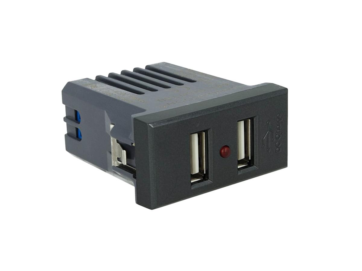 SANDASDON Modulo Caricatore 2 Porte USB 2,1A Nero Compatibile Bticino Axolute