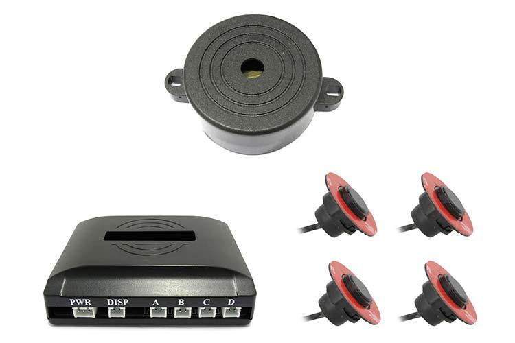 Kit 4 Sensore di Parcheggio OEM Staccabile 16mm Slim Cicalino Acustico Regolabile Distanza Fresa Fustella Inclusa Effetto Come Originale - KIT