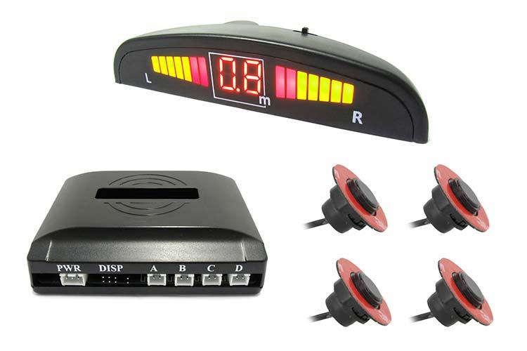 Kit 4 Sensore di Parcheggio OEM Staccabile 16mm Slim Con Display Mezzaluna Fresa Fustella Inclusa Effetto Come Originale - KIT