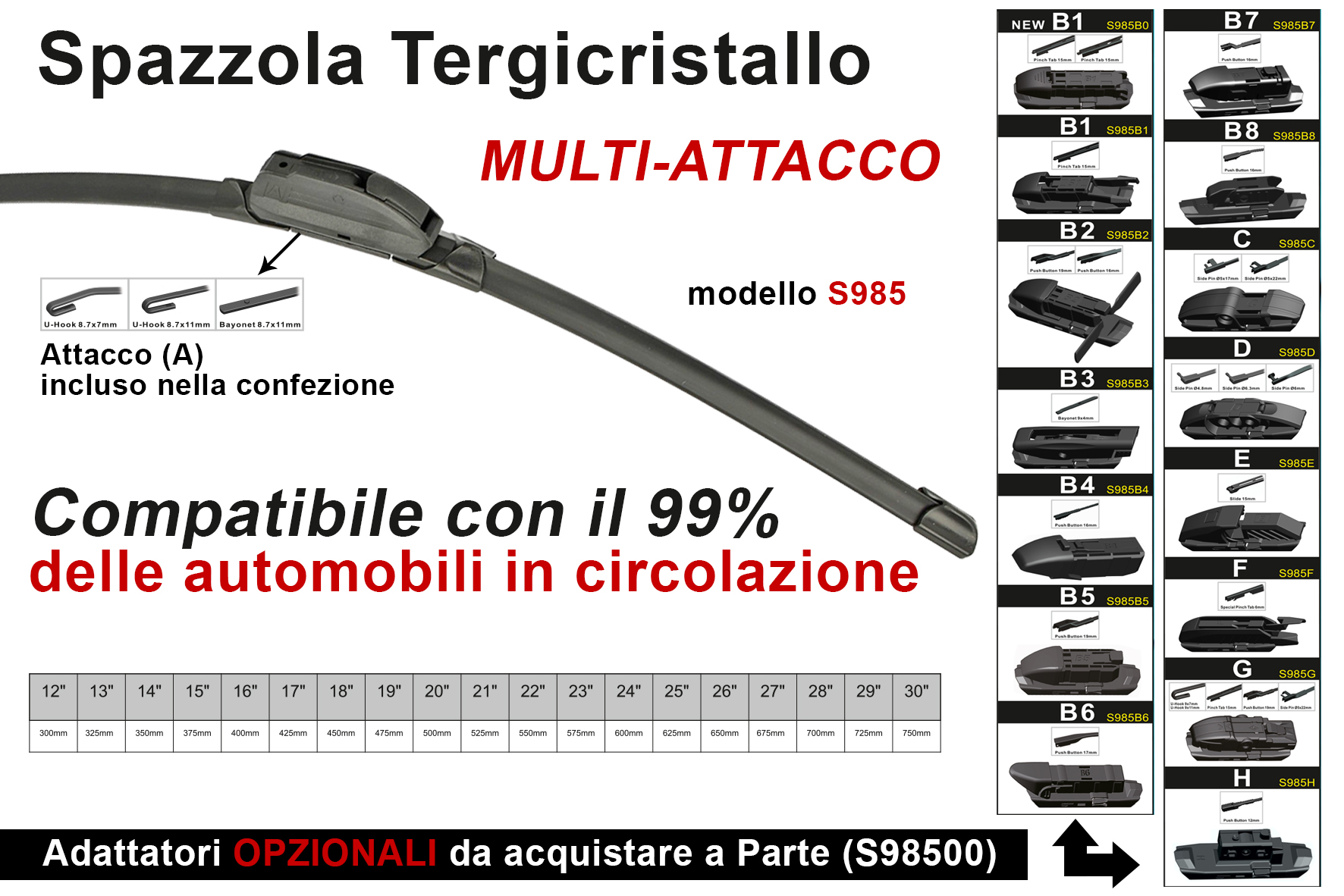 Spazzola Tergicristallo Auto Universale S985 23`` 575mm Carall 16 Attacchi Opzionale - PZ