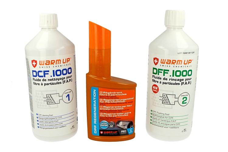 WARM UP Ricarica Chimica Per Kit Pulizia FAP 1 Pulizia DCF1000 + 1 Risciacquo DFF1000 + 1 Additivo DR300 Per Officina e Professionista - KIT