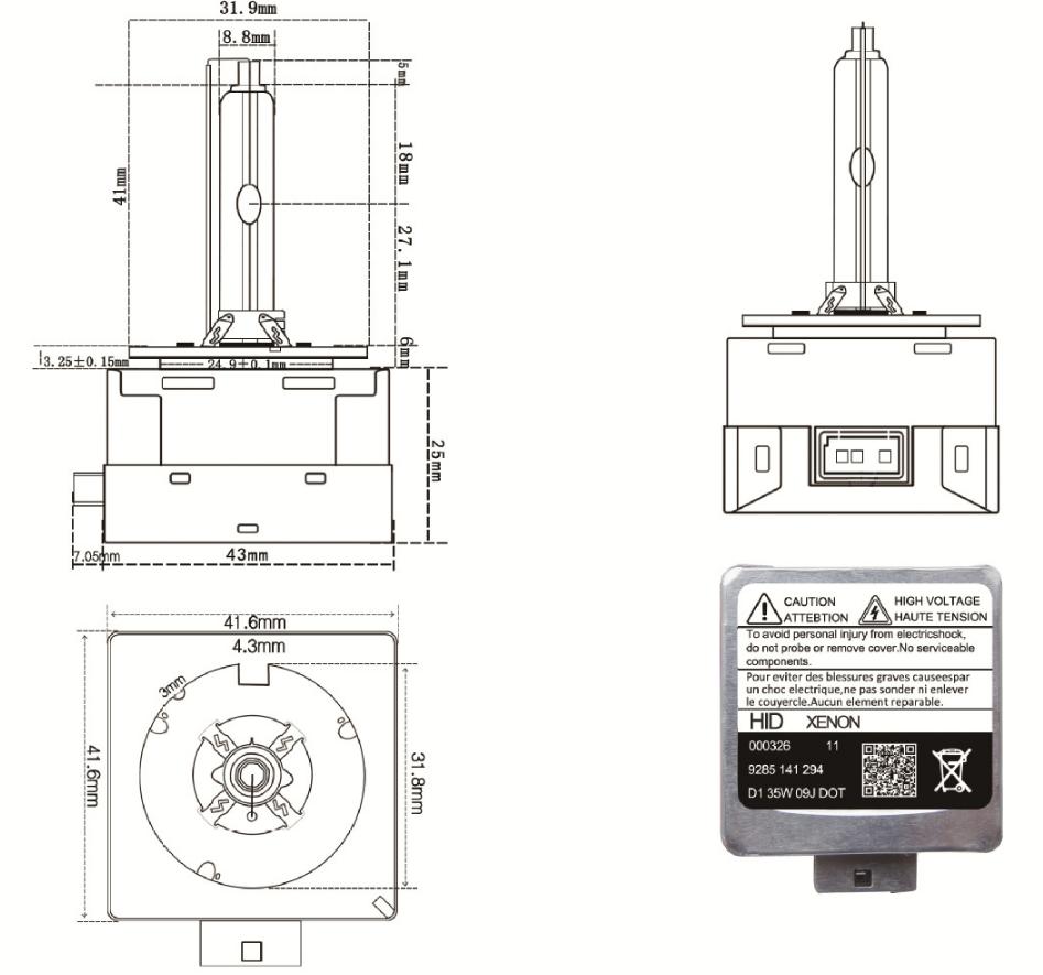 Lampada Hid Xenon D1S 5500K 85V 35W Ricambio Compatibile - PZ